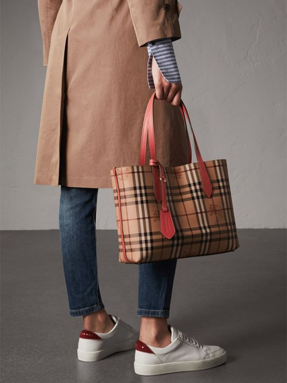 The Small Reversible Tote in Haymarket Check and Leather in Coral Red - Women | Burberry - cell image 3