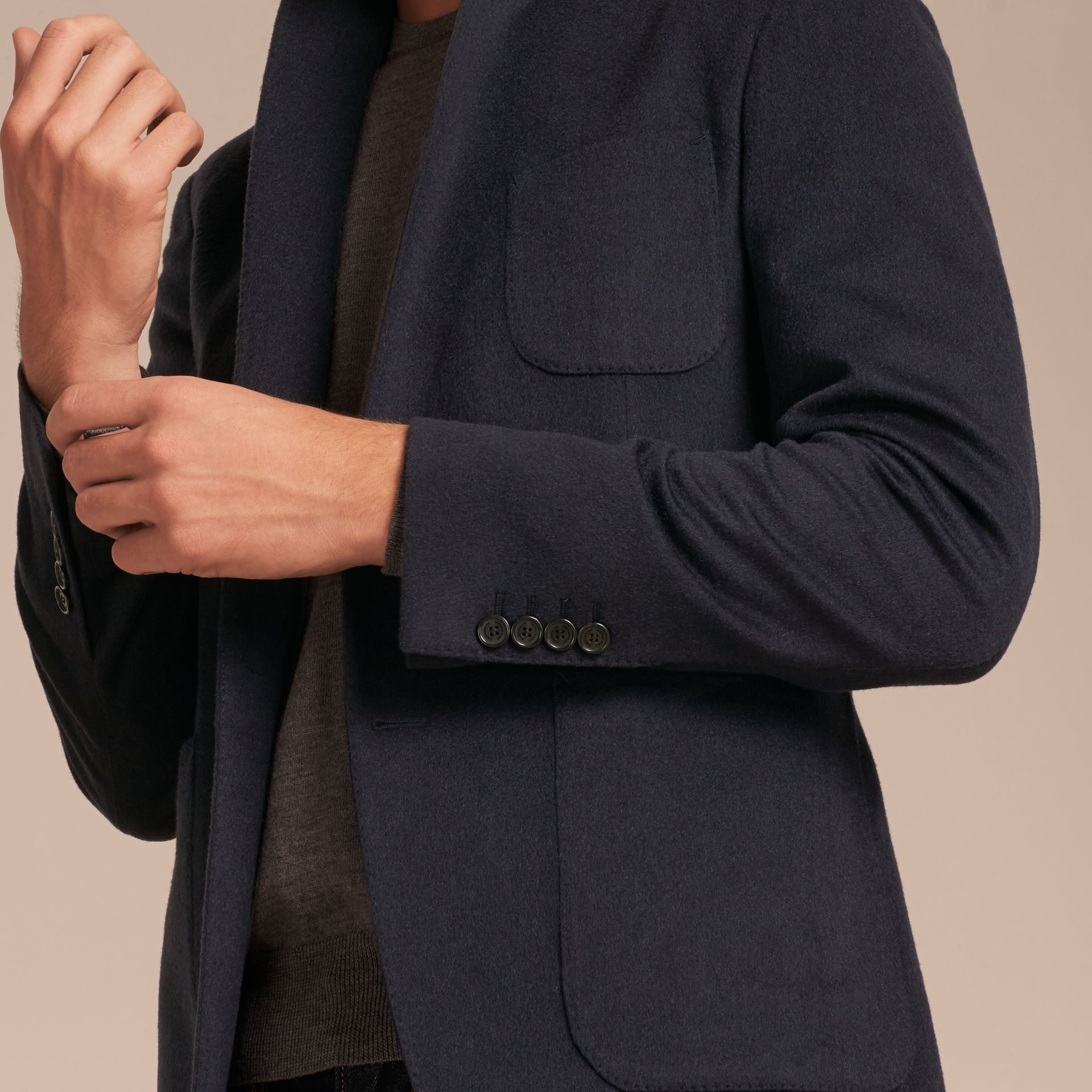 Modern Fit Lightweight Cashmere Tailored Jacket Navy Melange - gallery image 6