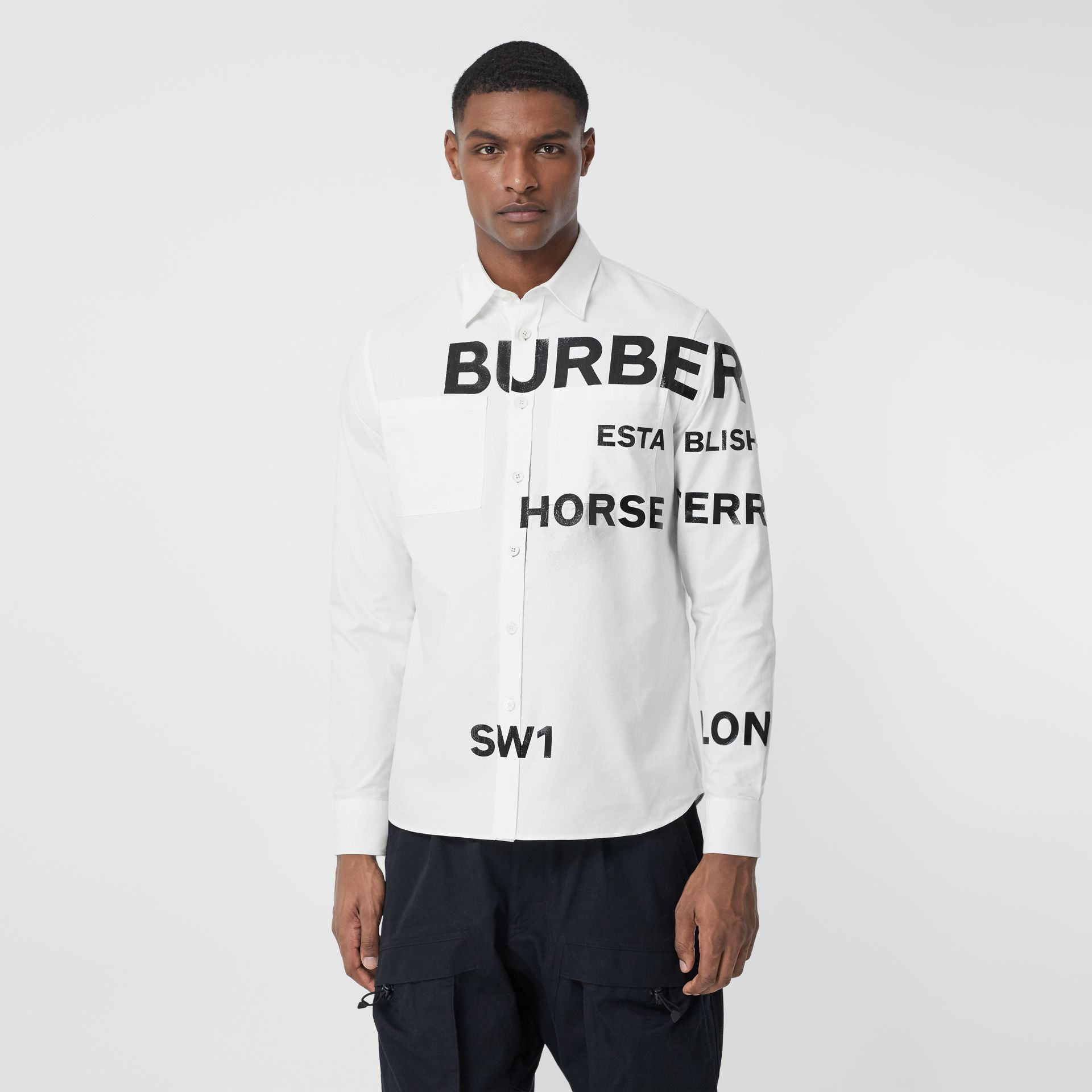 Horseferry Print Cotton Oxford Oversized Shirt in White - Men   Burberry United States - gallery image 0