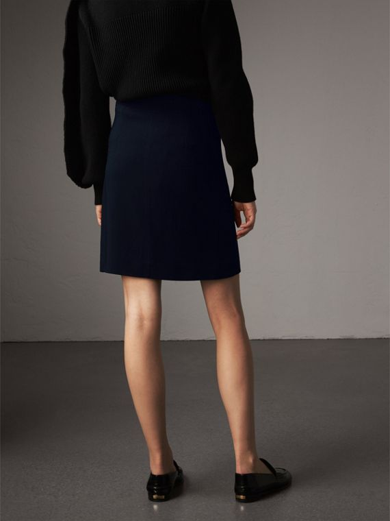 Resin Button Double-breasted Tailored Skirt in Navy - Women | Burberry Singapore - cell image 2