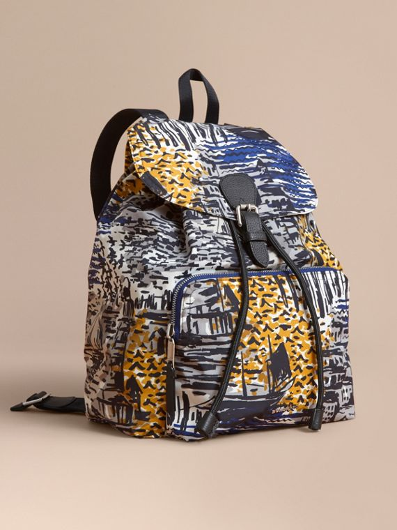 British Seaside Print Technical Packaway Rucksack in Amber Yellow