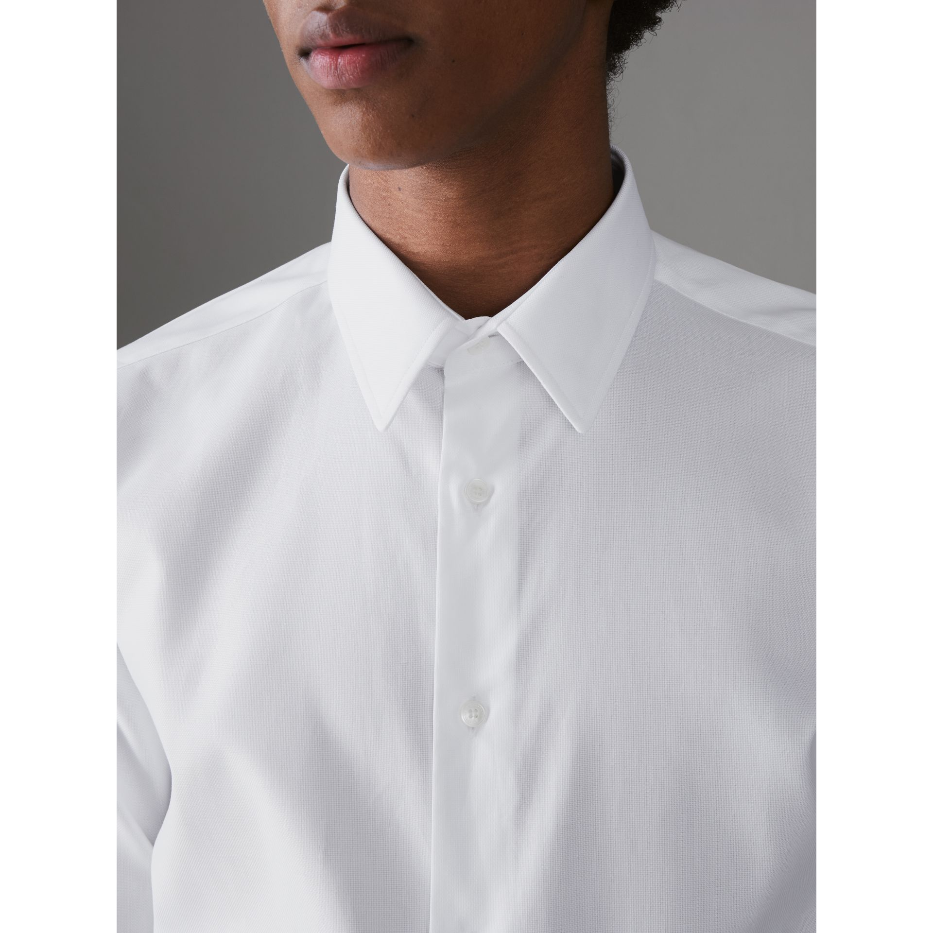 Modern Fit Cotton Shirt in White - Men | Burberry Canada - gallery image 1