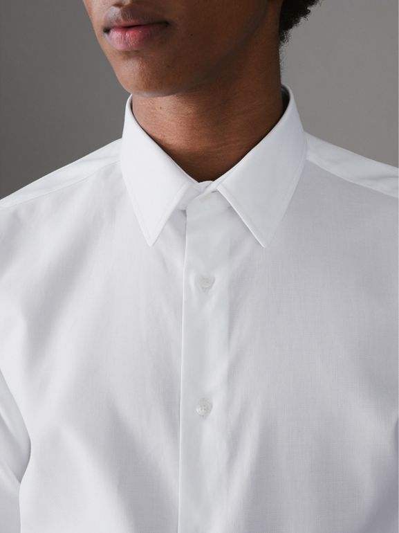 Modern Fit Cotton Shirt in White - Men | Burberry Australia - cell image 1
