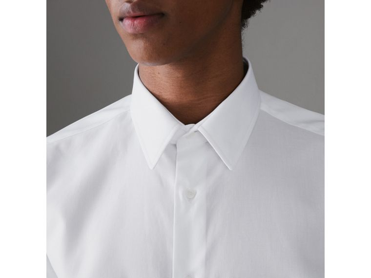 Modern Fit Cotton Shirt in White - Men | Burberry Canada - cell image 1