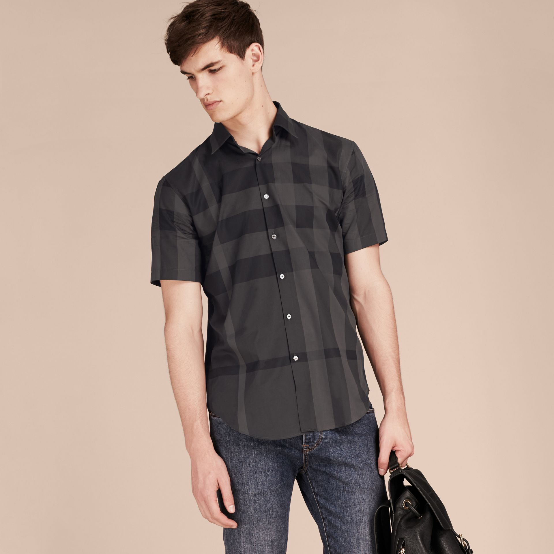 Gris marengo Camisa de manga corta en algodón con estampado de checks Gris Marengo - imagen de la galería 6