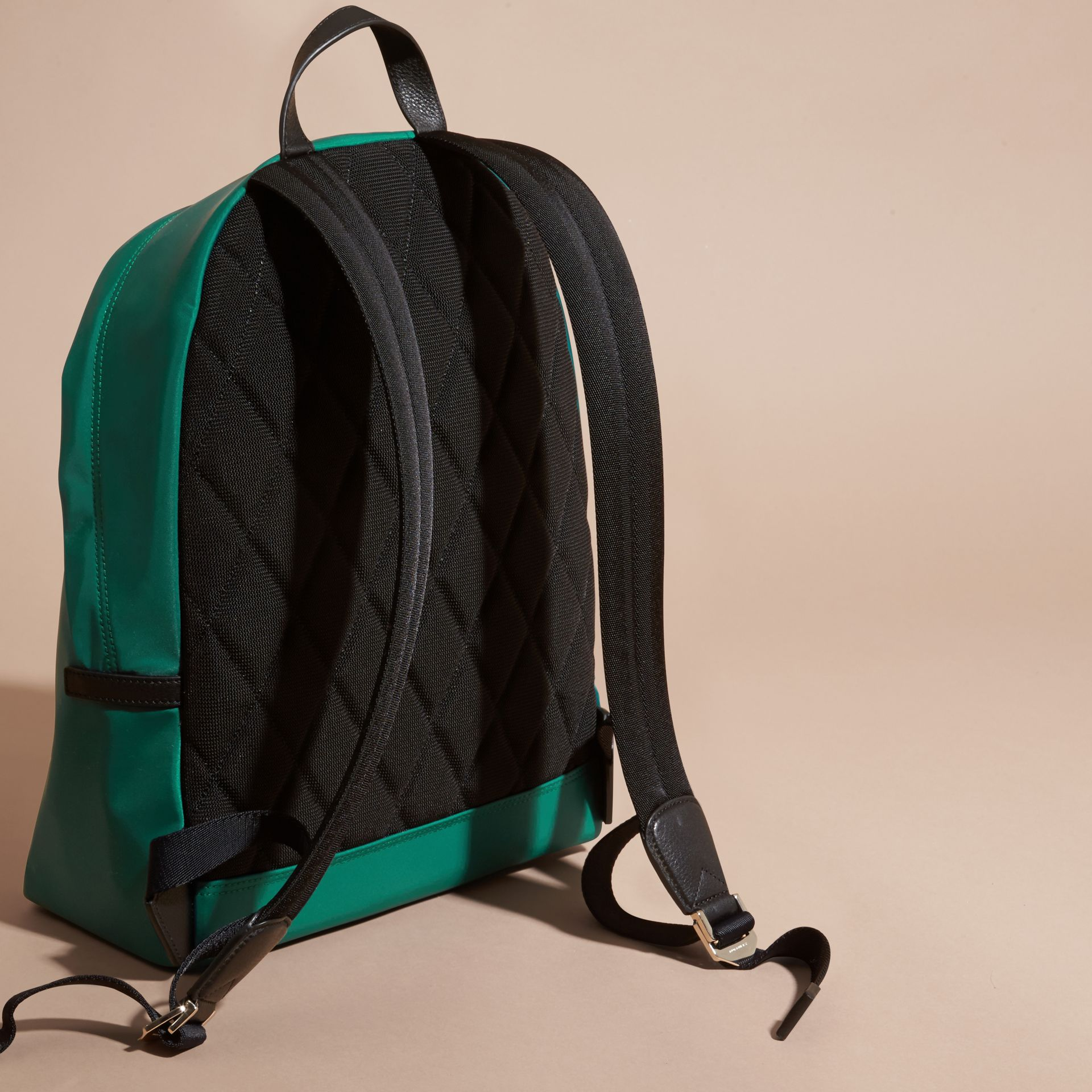 Pine green Leather Trim Nylon Backpack Pine Green - gallery image 4