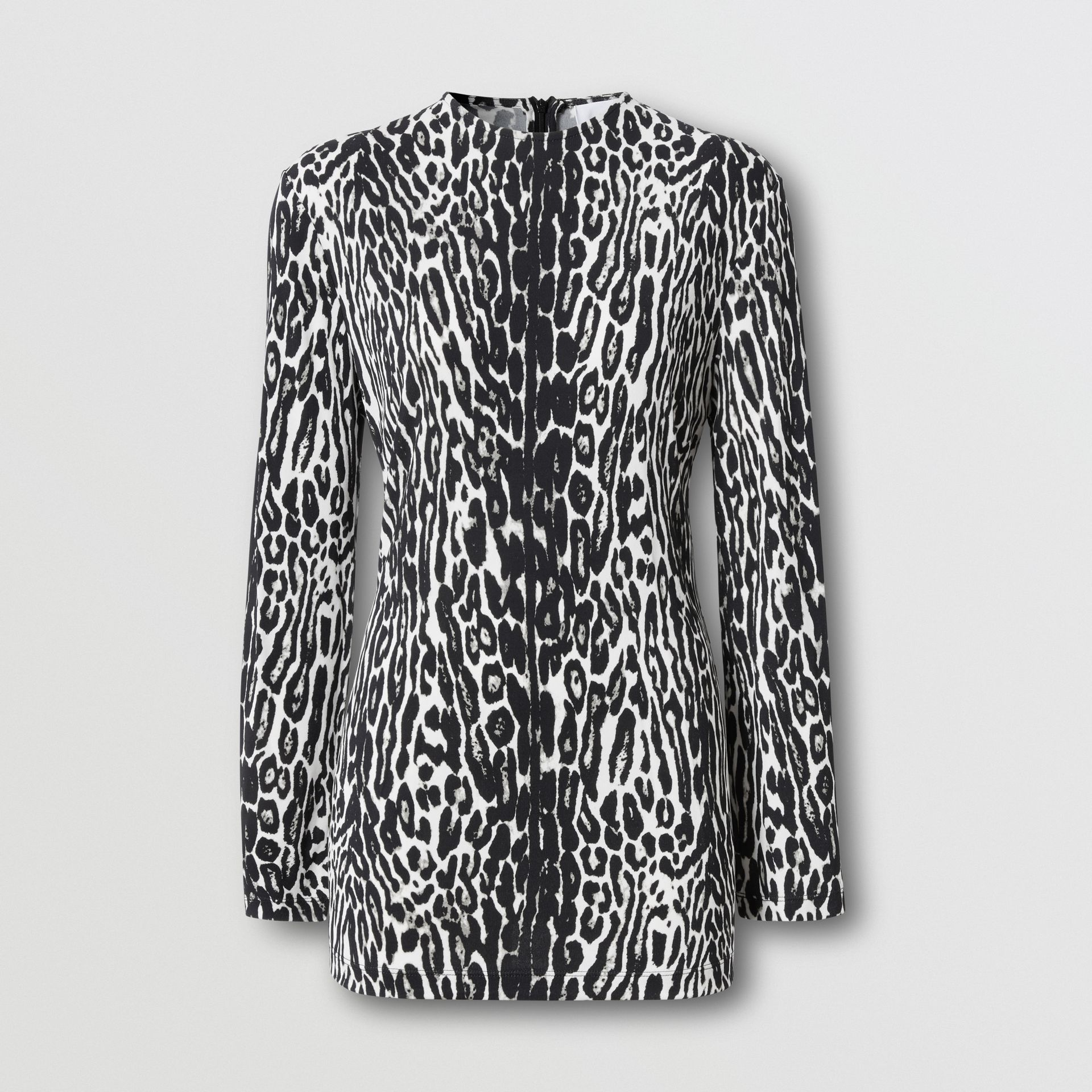 Long-sleeve Leopard Print Stretch Jersey Top in Black - Women | Burberry - gallery image 3