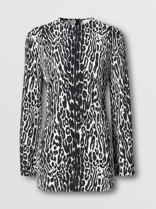 Long-sleeve Leopard Print Stretch Jersey Top in Black - Women | Burberry - cell image 3
