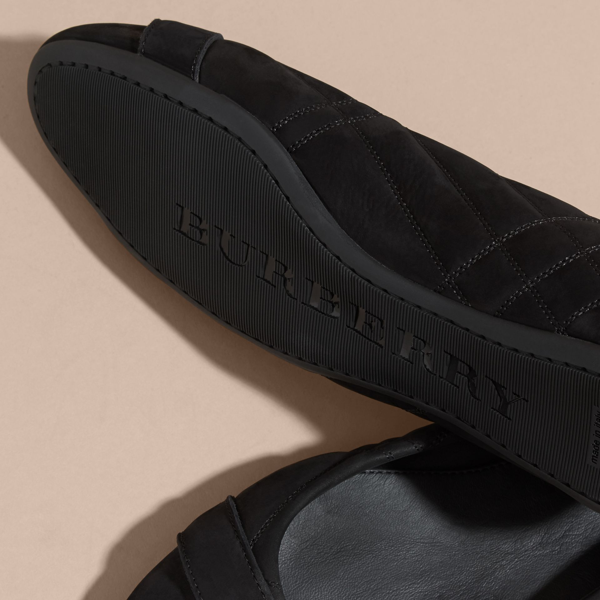 Black Buckle Detail Quilted Suede Ballerinas Black - gallery image 5
