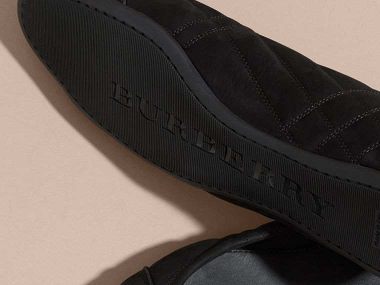 Black Buckle Detail Quilted Suede Ballerinas Black - cell image 4