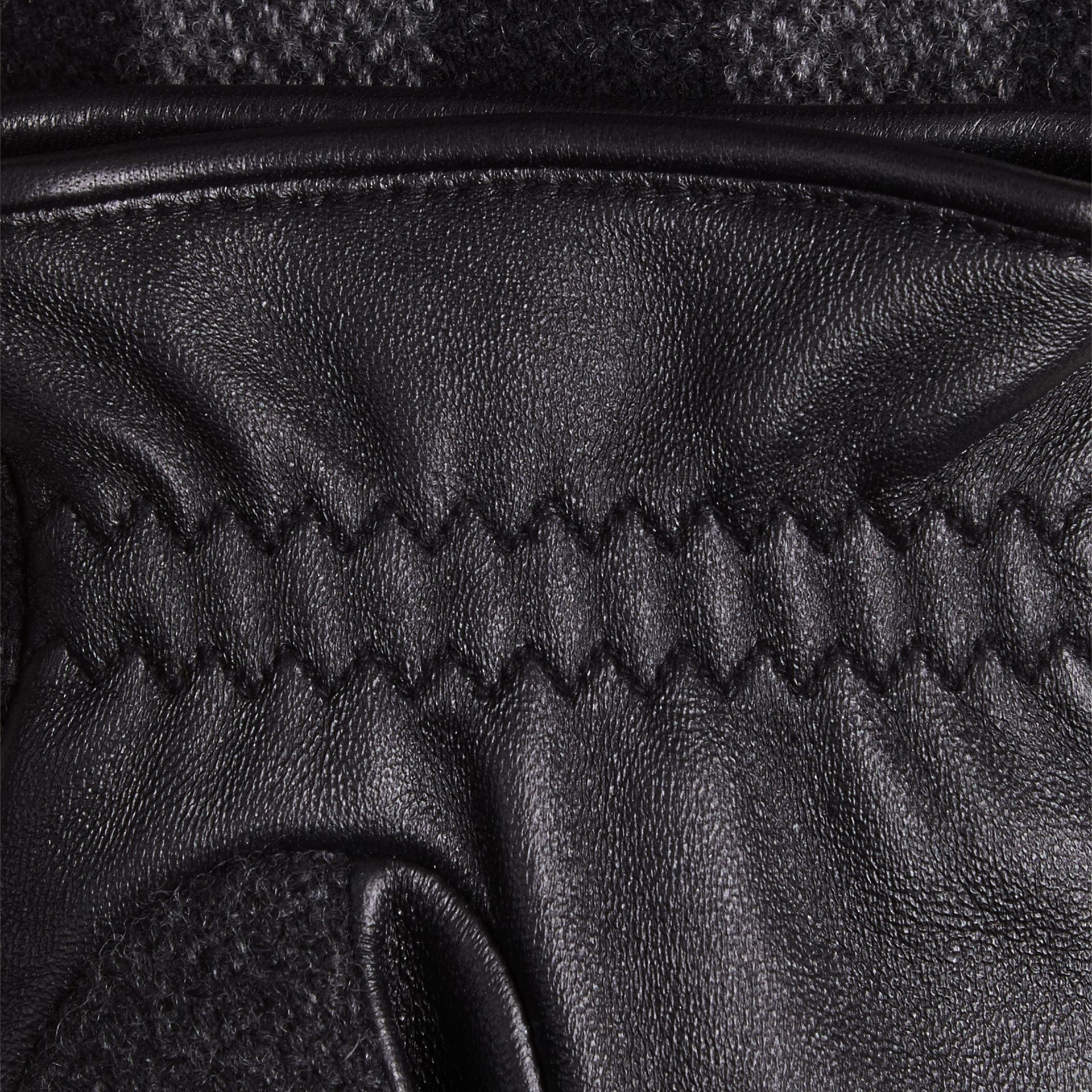 Check Wool and Leather Touch Screen Gloves in Charcoal - Men | Burberry Canada - gallery image 2
