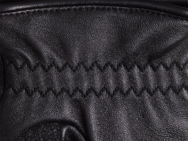 Check Wool and Leather Touch Screen Gloves in Charcoal - cell image 1
