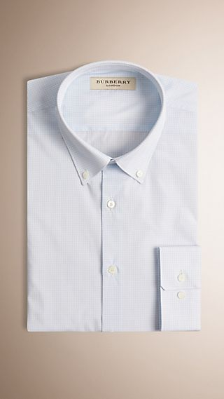 Modern Fit Button-down Collar Micro Check Cotton Shirt
