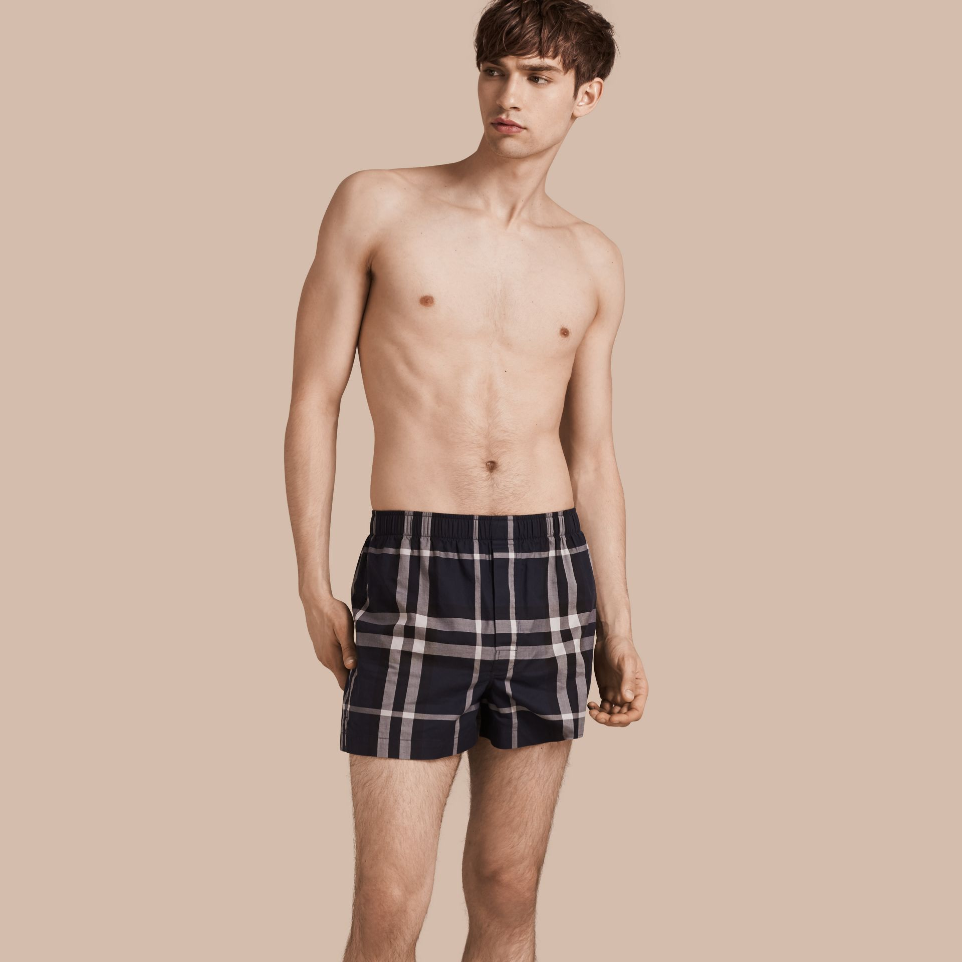 Check Twill Cotton Boxer Shorts in Navy - gallery image 1