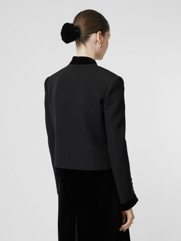 Velvet Detail Wool Tailored Jacket in Black - Women | Burberry - cell image 1