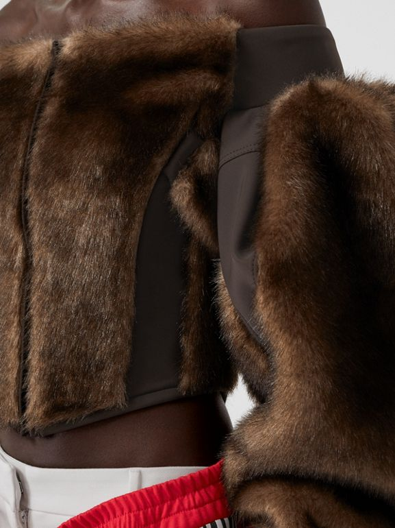 Off-the-shoulder Faux Fur and Jersey Corset Top in Brown - Women | Burberry United States - cell image 1
