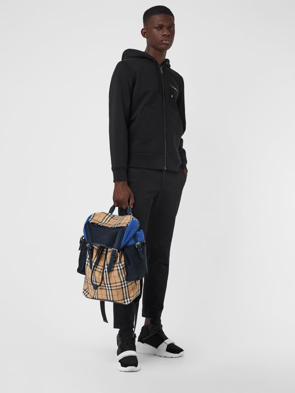 Colour Block Vintage Check and Leather Backpack in Navy - Men | Burberry Singapore - cell image 2