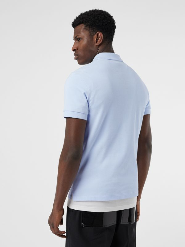 Check Placket Cotton Polo Shirt in Baby Blue - Men | Burberry Singapore - cell image 2