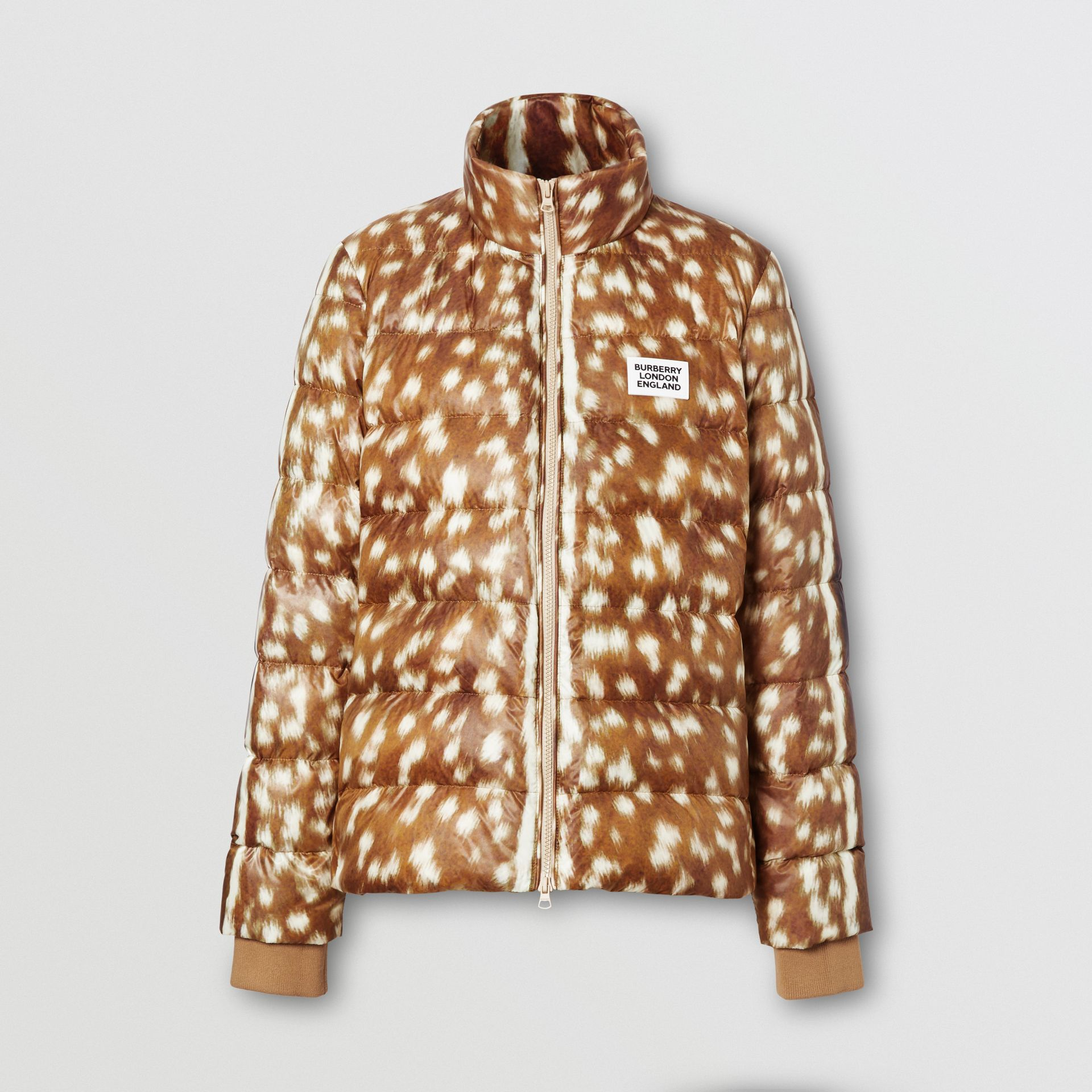 Deer Print Puffer Jacket in Honey - Women | Burberry United Kingdom - gallery image 3