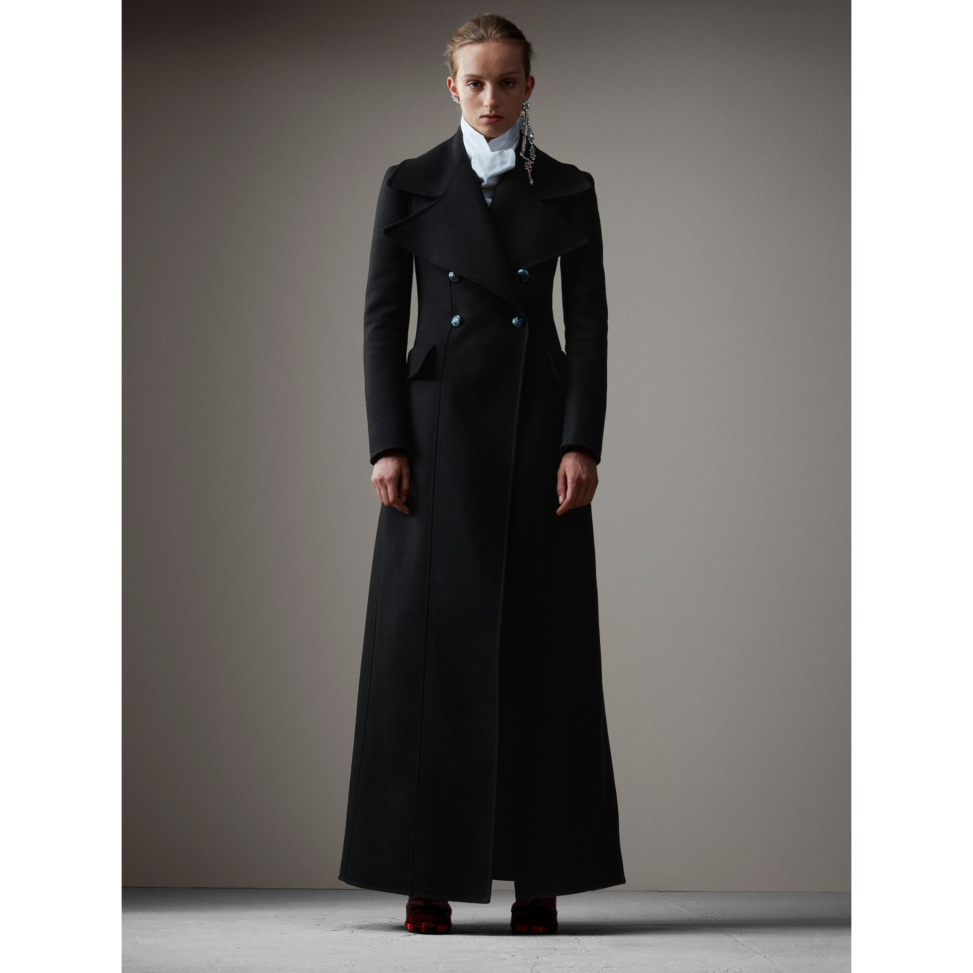 Felted Wool Full-length Tailored Coat in Black - Women | Burberry - gallery image 7