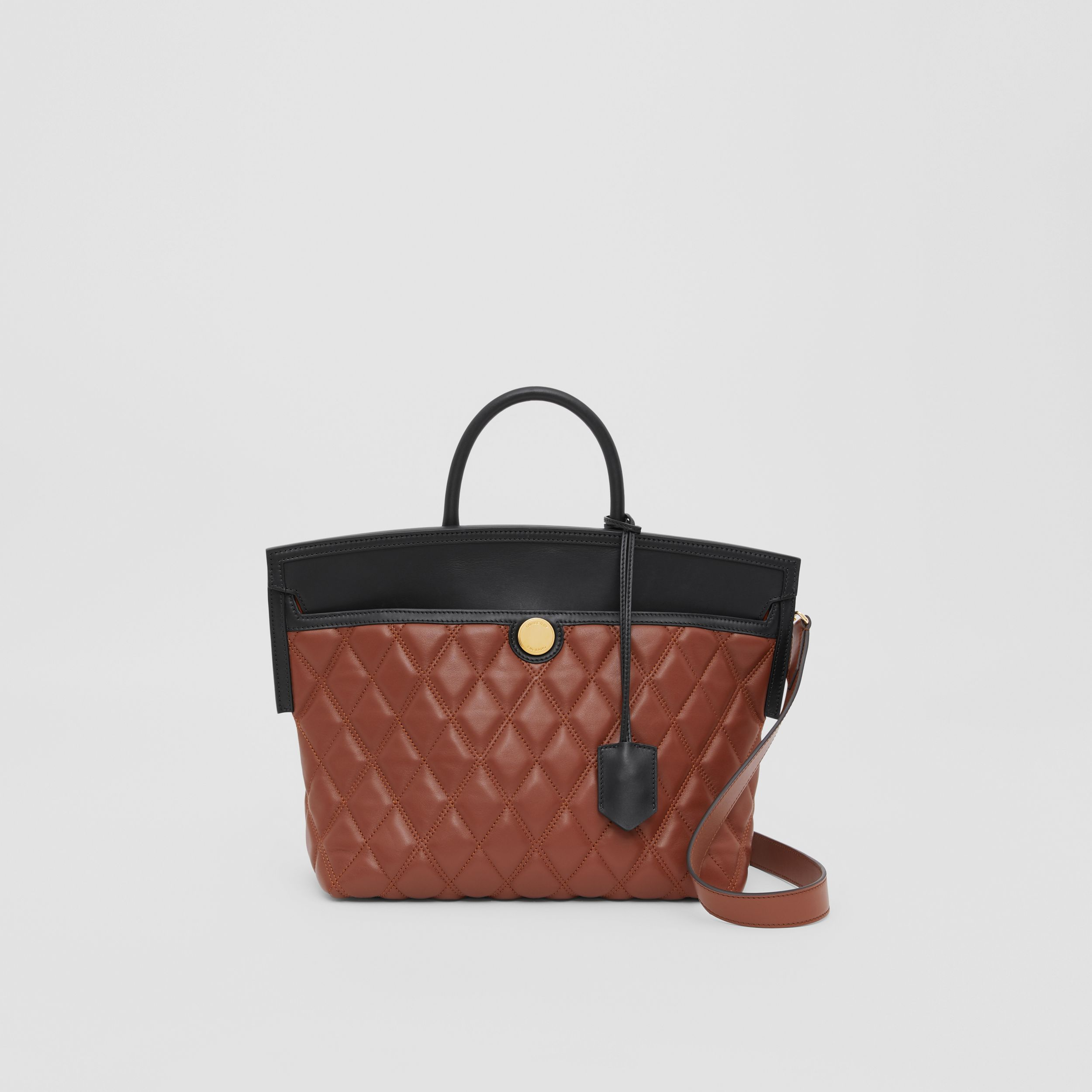 Small Quilted Lambskin Society Top Handle Bag in Tan - Women | Burberry - 1
