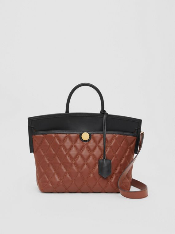 Small Quilted Leather Society Top Handle Bag in Tan