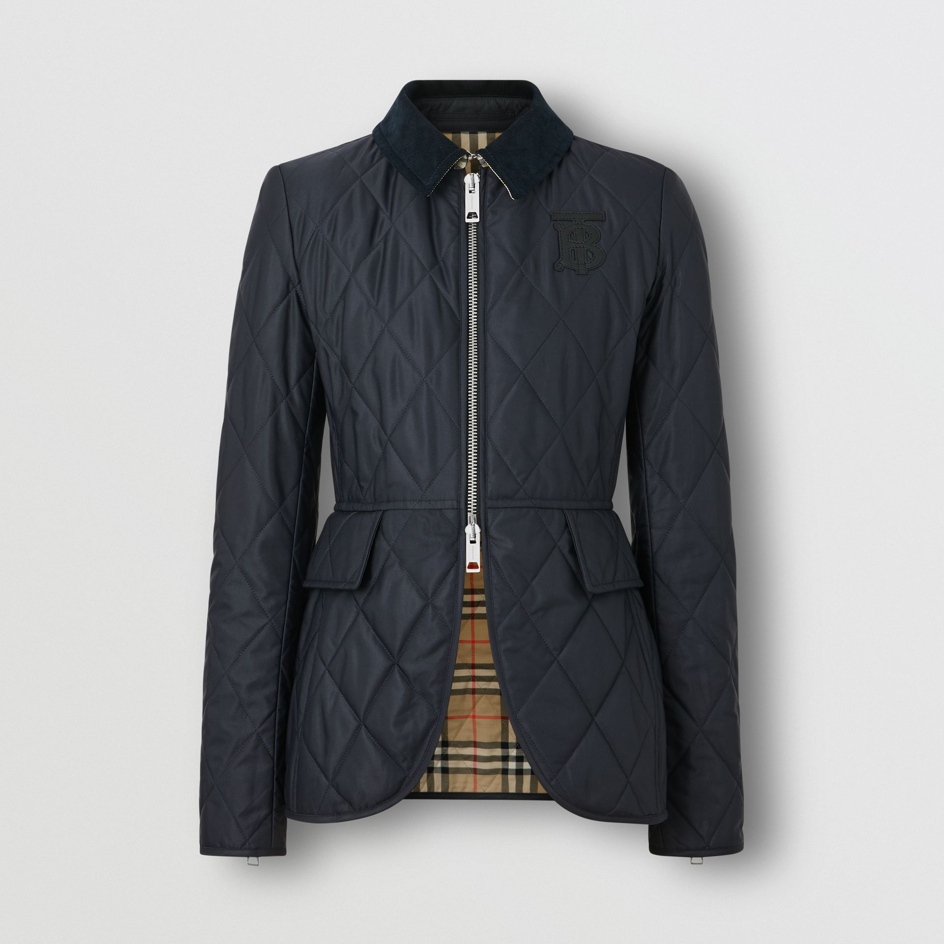 Monogram Motif Quilted Riding Jacket in Navy - Women | Burberry - gallery image 3