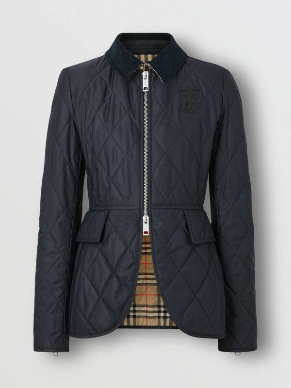 Monogram Motif Quilted Riding Jacket in Navy - Women | Burberry Canada - cell image 3