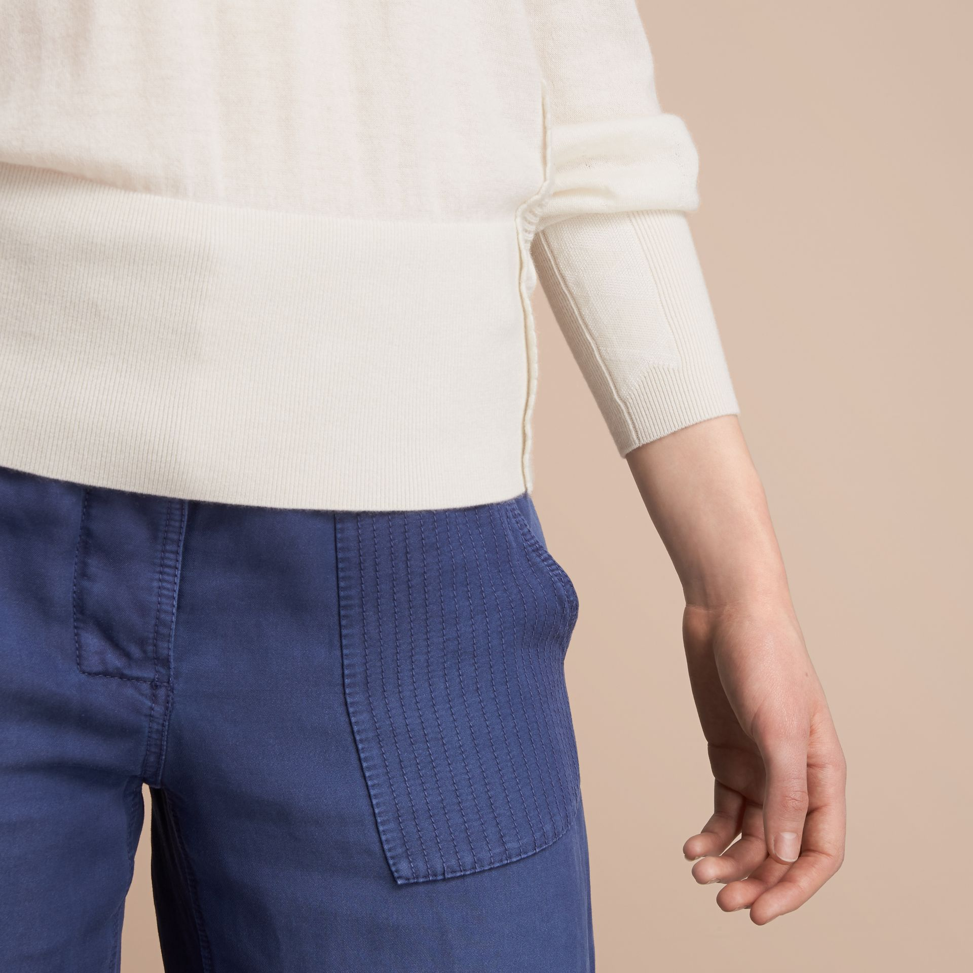 Open-knit Detail Cashmere Crew Neck Sweater Natural White - gallery image 5