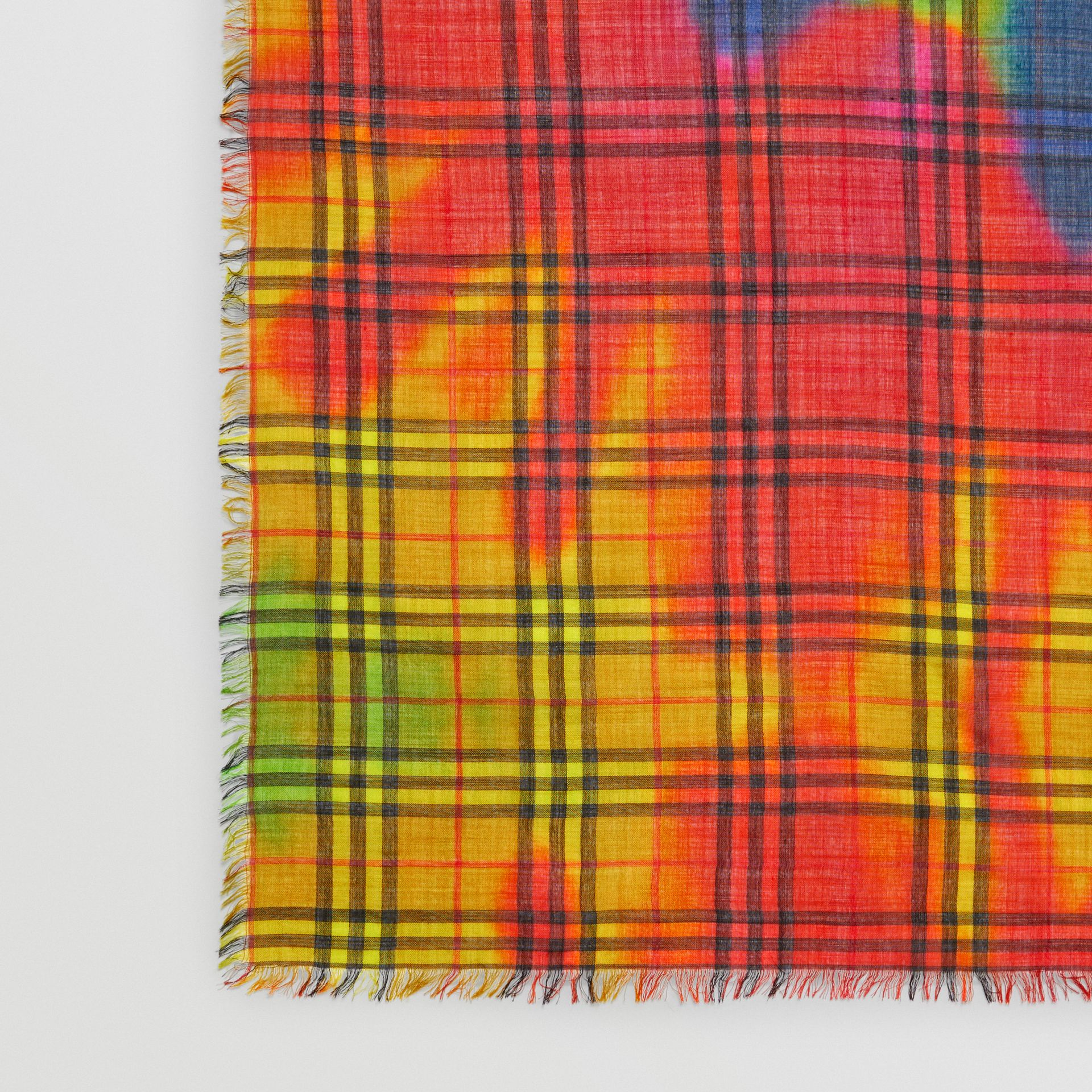 Tie-Dye Vintage Check Wool Silk Large Square Scarf in Multicolour | Burberry - gallery image 0