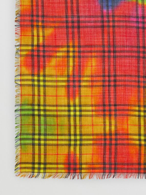 Tie-Dye Vintage Check Wool Silk Large Square Scarf in Multicolour