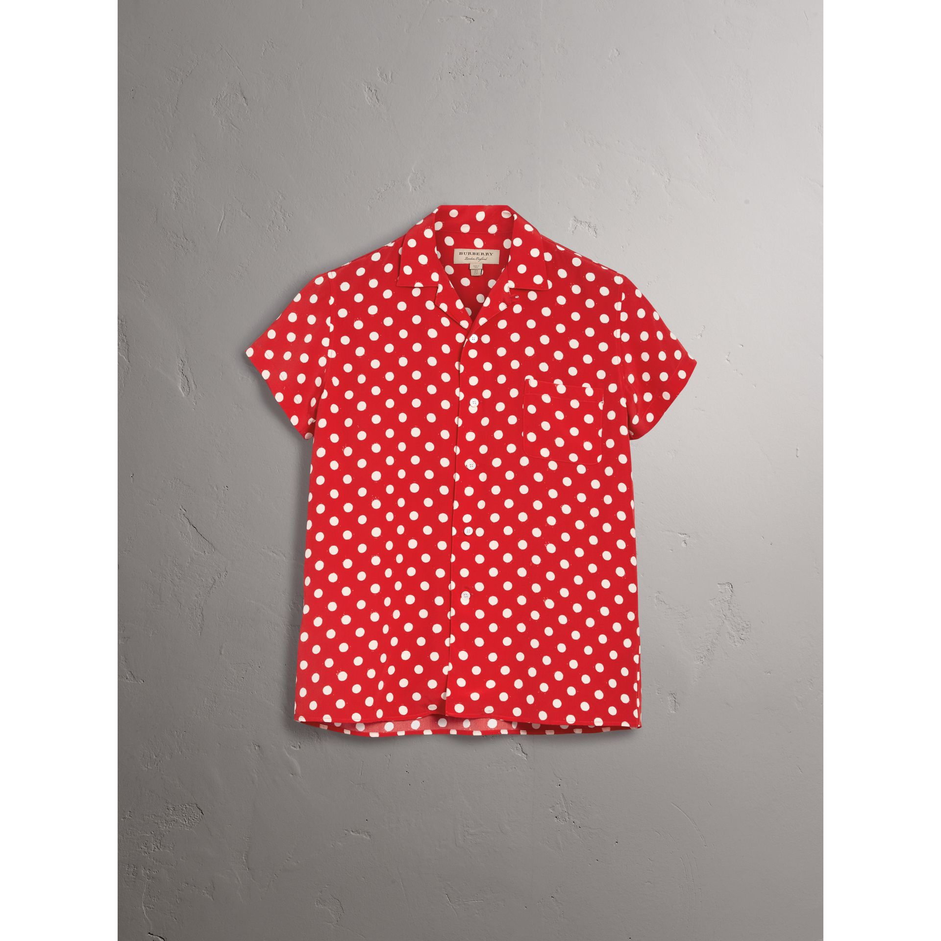 Short-sleeve Polka-dot Silk Shirt in Bright Orange Red - Women | Burberry - gallery image 3