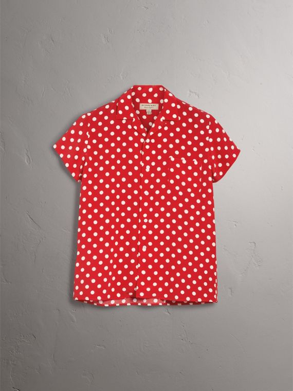 Short-sleeve Polka-dot Silk Shirt in Bright Orange Red - Women | Burberry Canada - cell image 3