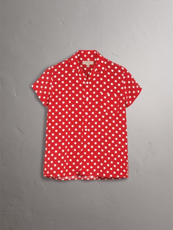 Camisa de seda com mangas curtas e estampa de poás (Vermelho Alaranjado Intenso) - Mulheres | Burberry - cell image 3