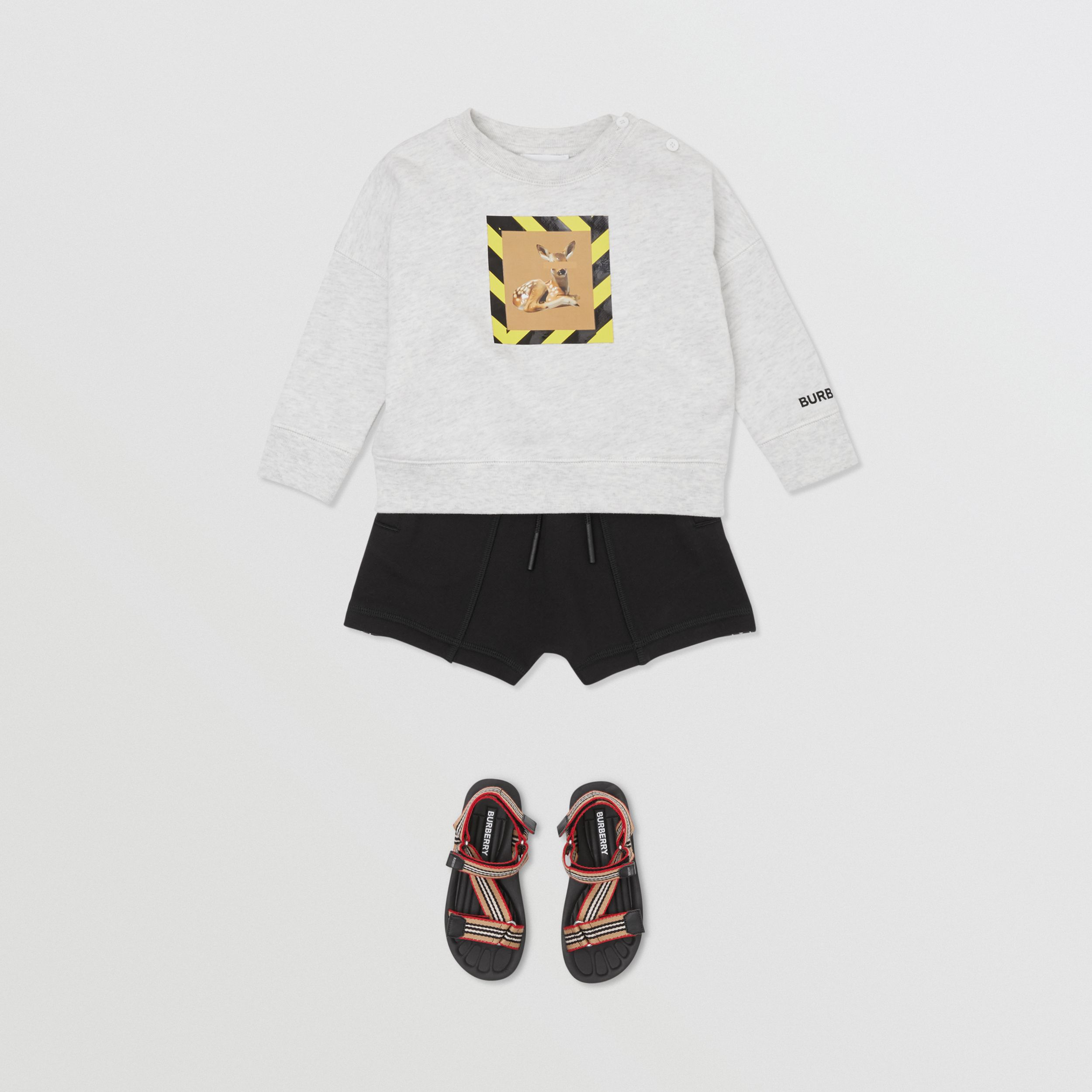 Deer Print Cotton Sweatshirt in White Melange - Children | Burberry - 4
