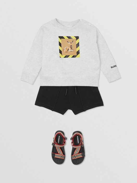 Deer Print Cotton Sweatshirt in White Melange