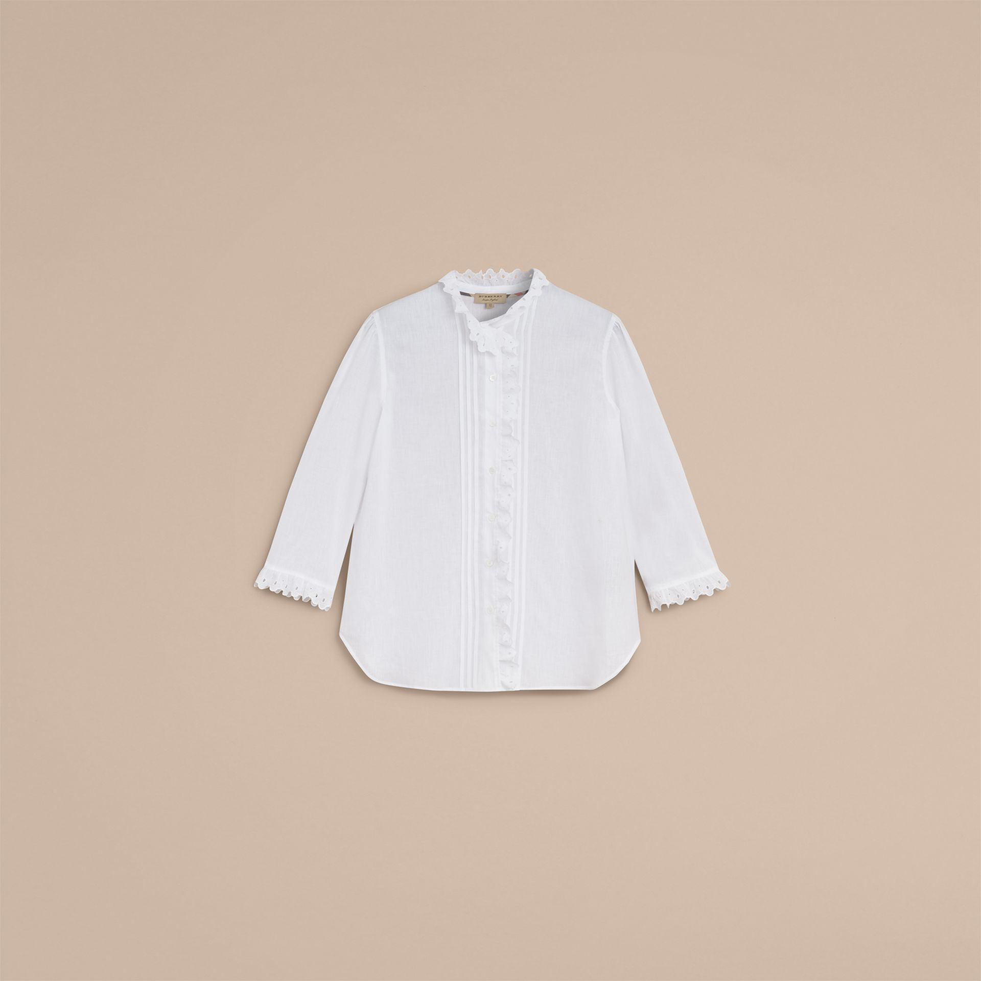 Broderie Anglaise Detail Linen Cotton Shirt - Women | Burberry - gallery image 4