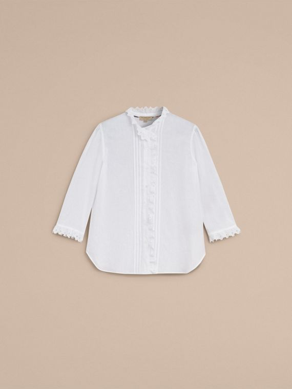 Broderie Anglaise Detail Linen Cotton Shirt - Women | Burberry - cell image 3