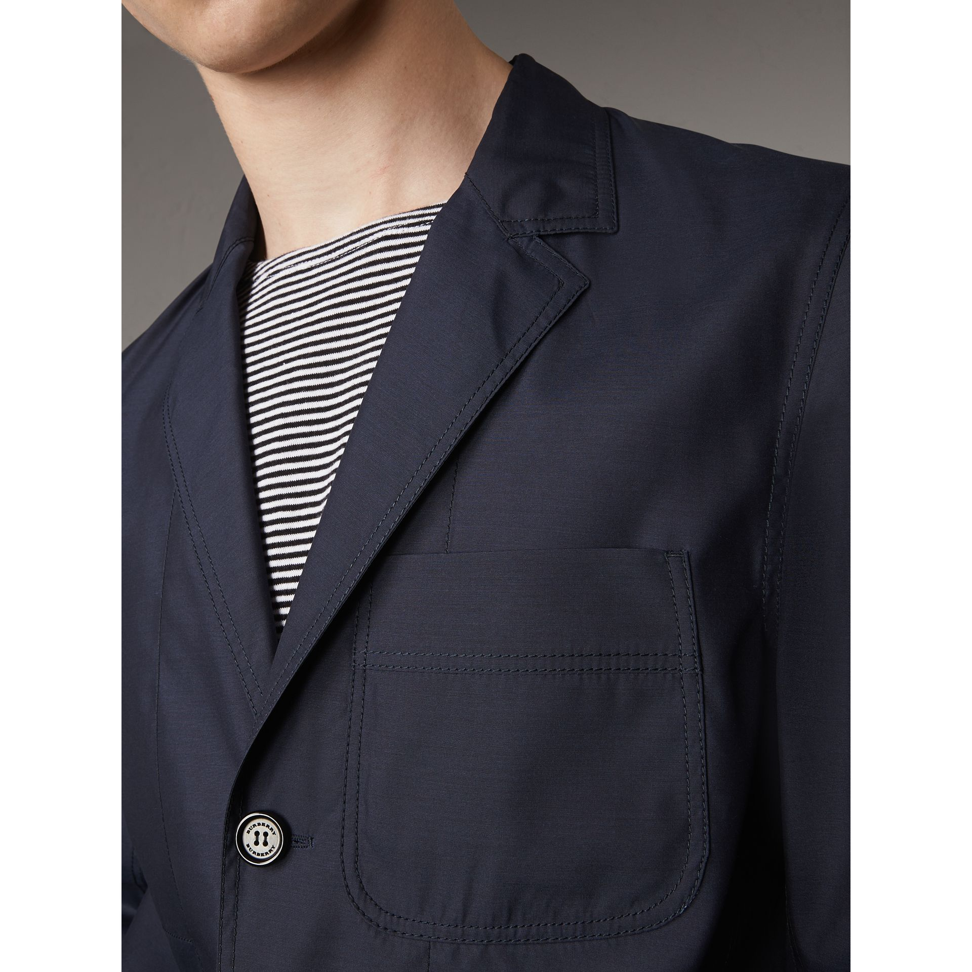 Silk Wool Workwear Blazer in Navy - Men | Burberry - gallery image 2