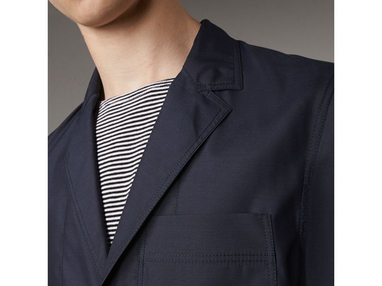 Silk Wool Workwear Blazer in Navy - Men | Burberry - cell image 1