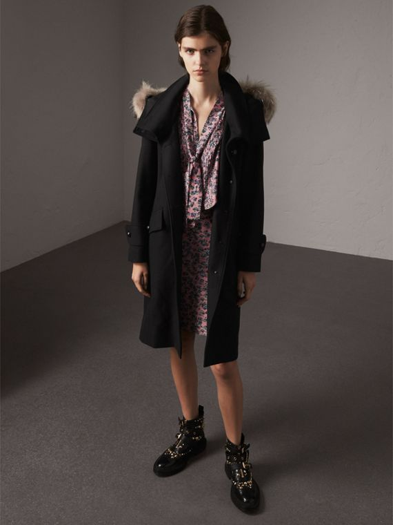 Hooded Wool Blend Coat with Detachable Fur Trim in Black
