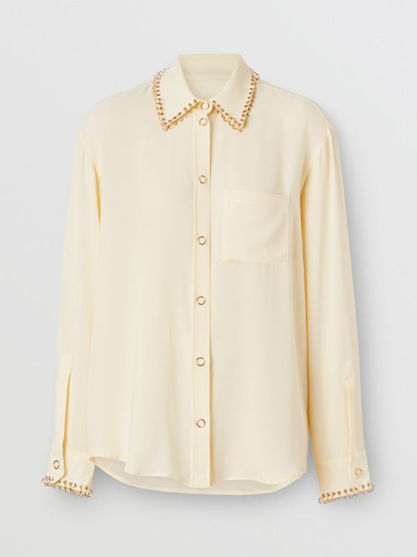 Ring-pierced Silk Oversized Shirt in Vanilla - Women | Burberry - cell image 3