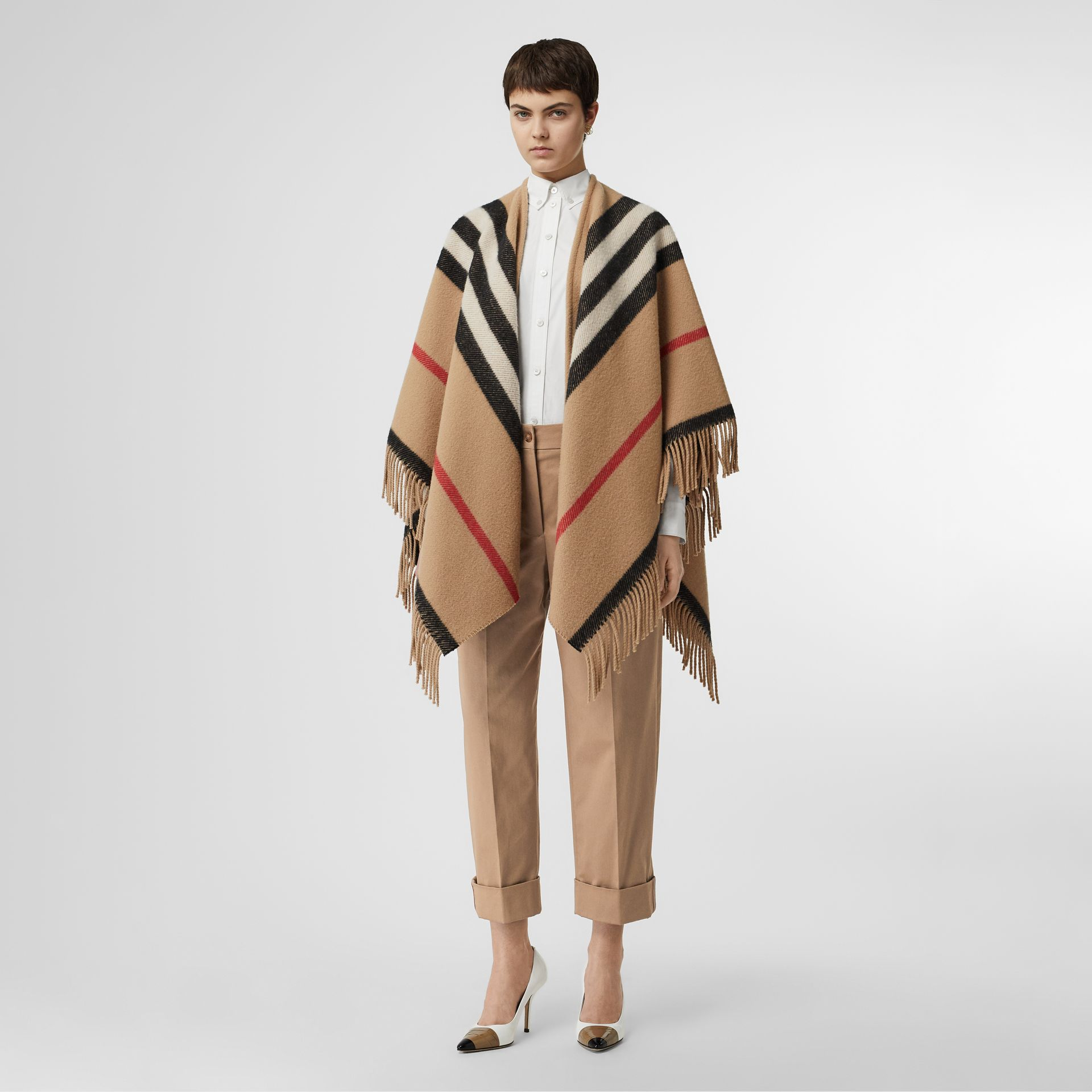 Icon Stripe Detail Stretch Cotton Cropped Trousers in Camel - Women | Burberry - gallery image 5