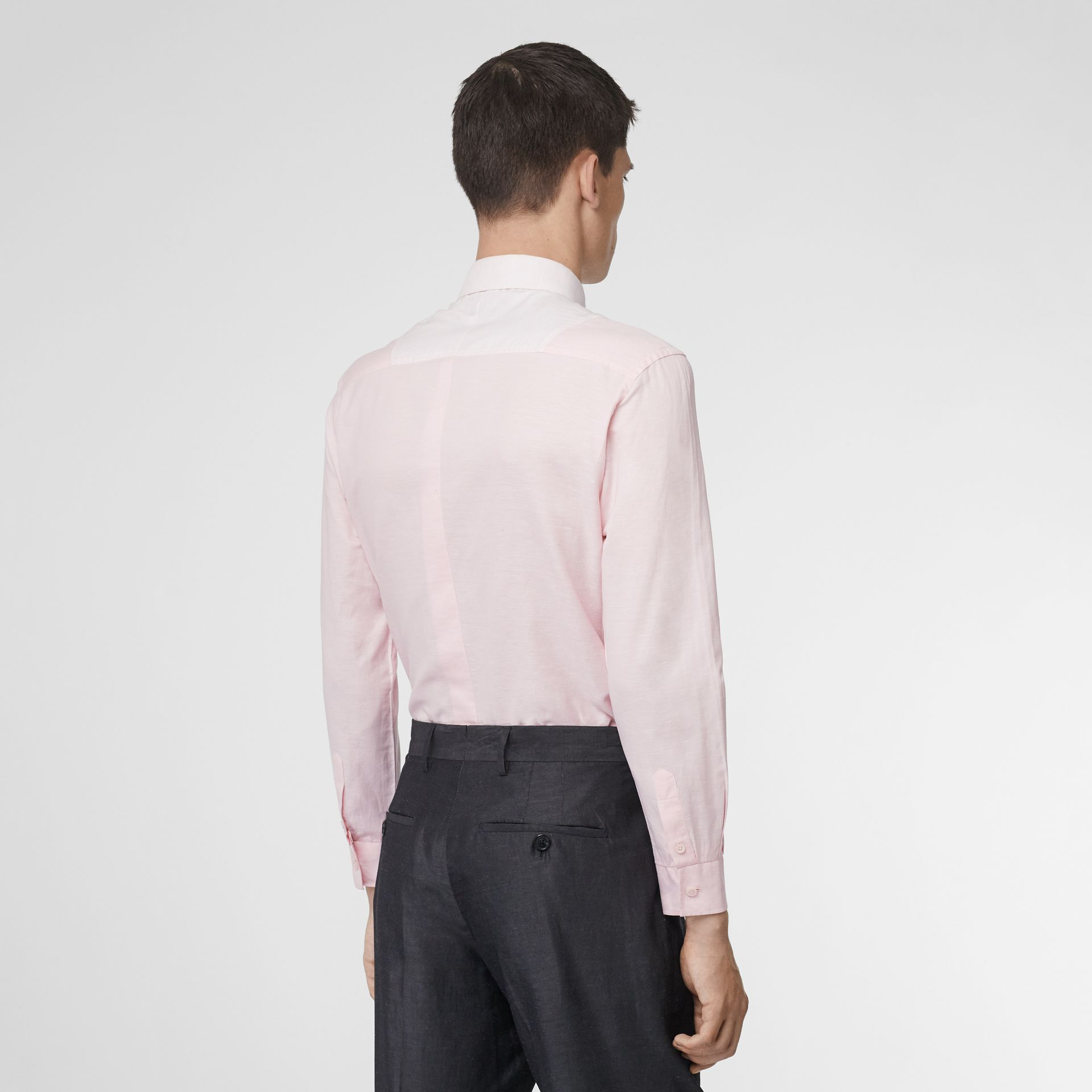 Cotton Linen Shirt and Tie Twinset in Alabaster Pink | Burberry - gallery image 1
