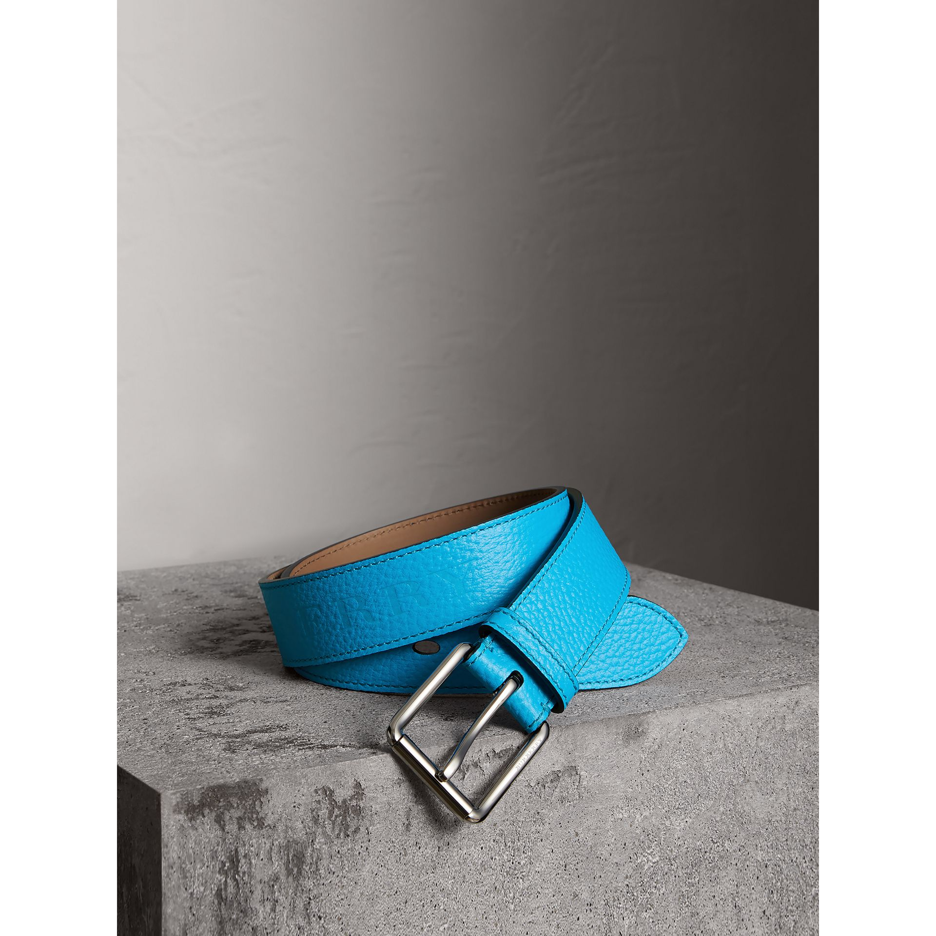 Embossed Grainy Leather Belt in Neon Blue | Burberry United States - gallery image 0
