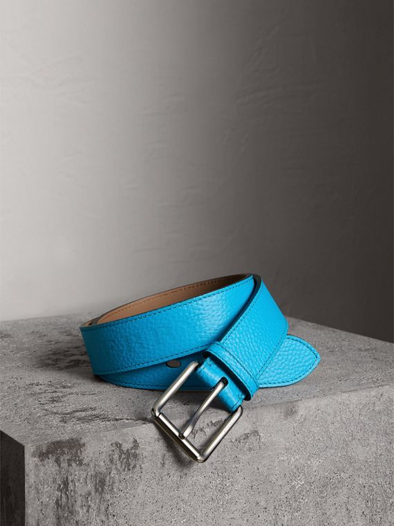 Embossed Grainy Leather Belt in Neon Blue