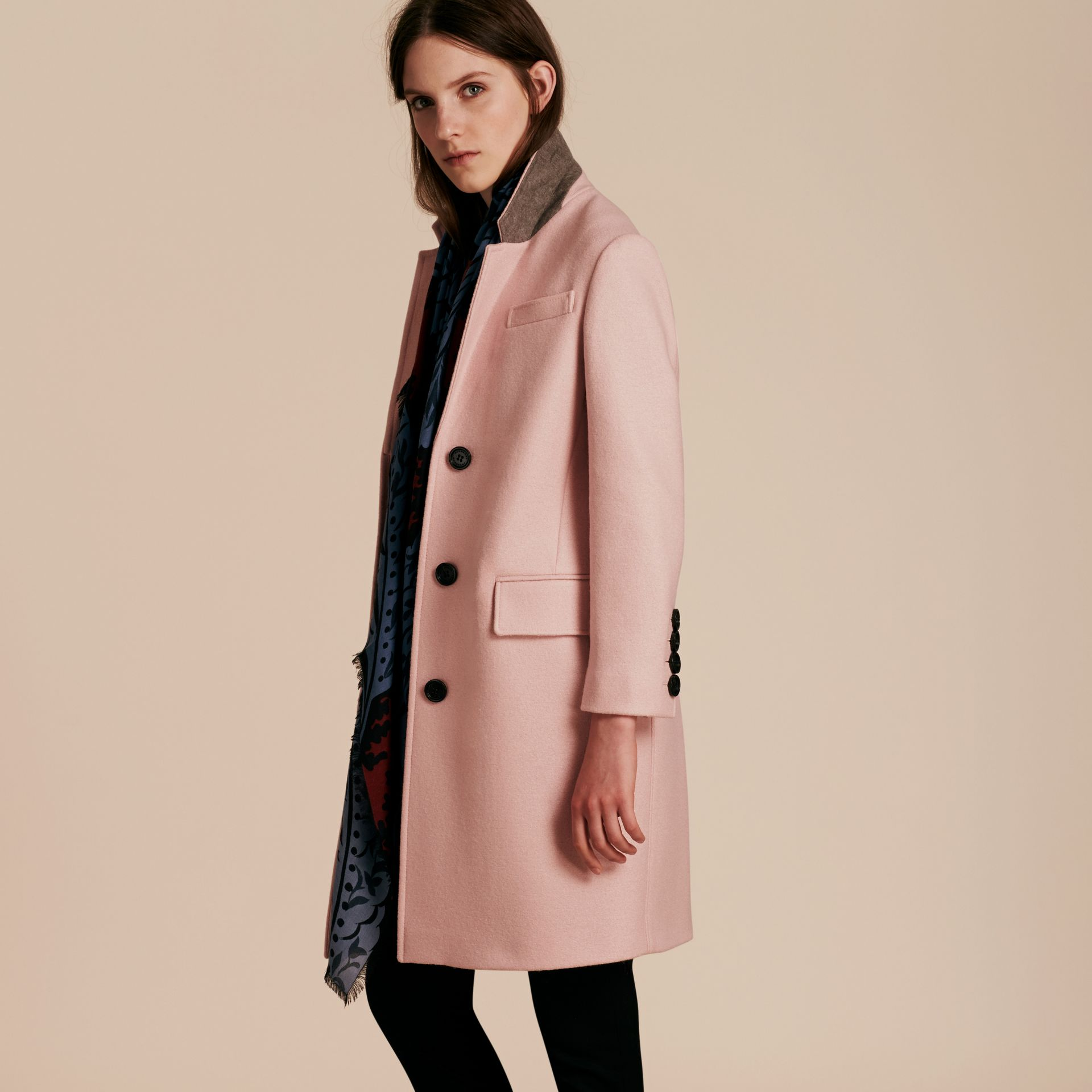 Chalk pink Boiled Wool Tailored Coat - gallery image 7