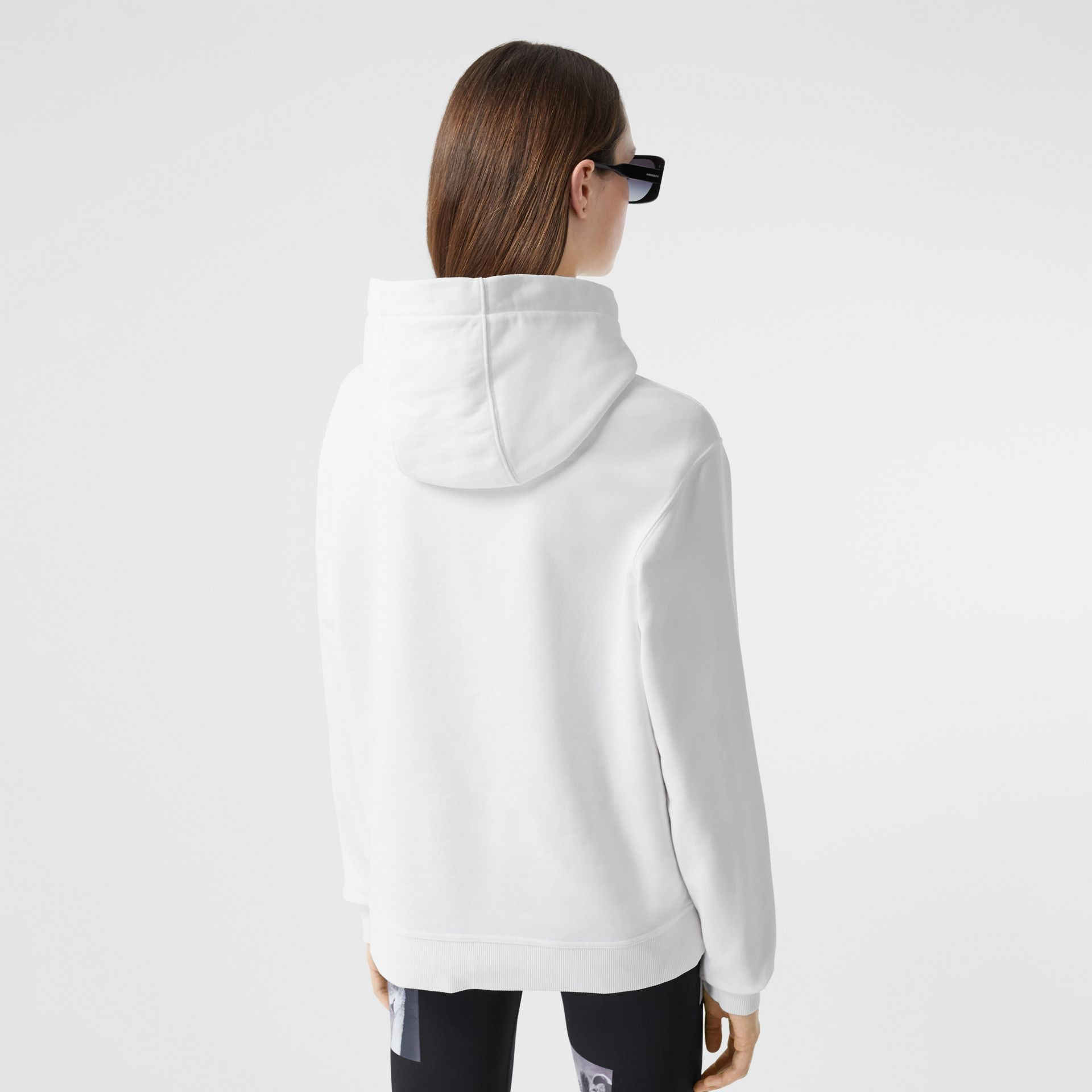 Quote Print Cotton Oversized Hoodie in White - Women | Burberry United States - gallery image 2