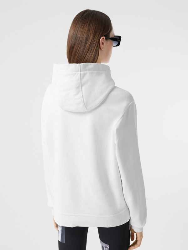 Quote Print Cotton Oversized Hoodie in White - Women | Burberry United States - cell image 2