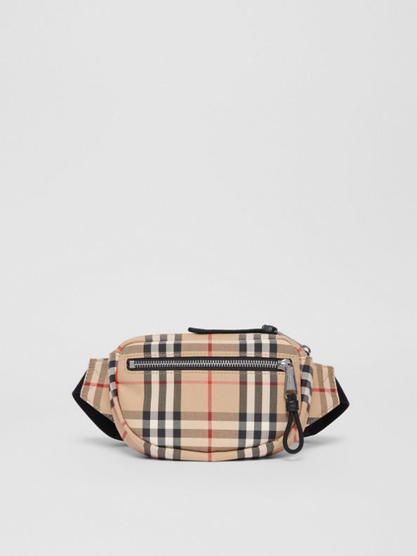 Small Vintage Check Bum Bag in Archive Beige